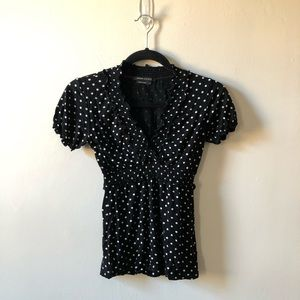 BCBGMaxAzria Black and White Polka Dot Blouse